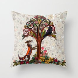 fox and crow Throw Pillow
