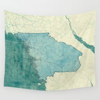 maine Wall Tapestries featuring Maine State Map Blue Vintage by City Art Posters