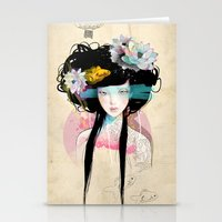 pastel Stationery Cards featuring Nenufar Girl by Ariana Perez