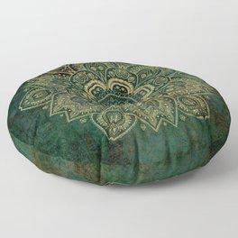 Golden Flower Mandala on Dark Green Floor Pillow