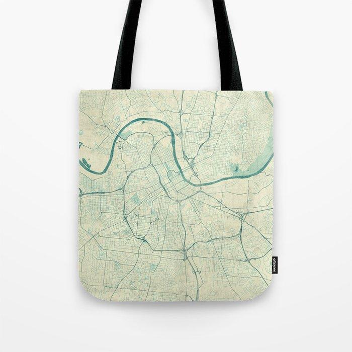 Nashville Map Blue Vintage Tote Bag