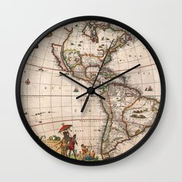 1658 Visscher Map of North & South America with enhancements Wall Clock