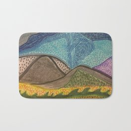 Zen Doodle Mountain Drawing Bath Mat