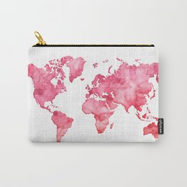 Raspberry watercolor world map Carry-All Pouch