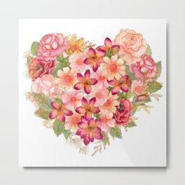 Watercolor floral heart Metal Print