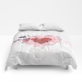 Abstract Lost Love White and Pink Crumpled Paper Design Comforters