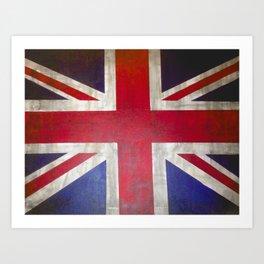 Vintage Rustic Union Jack UK Flag Art Print