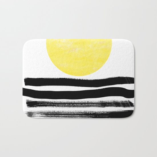 Soleil - sunset sunrise abstract painting art decor dorm college art painting brushstrokes india ink Bath Mat