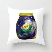saturn Throw Pillows featuring Saturn  by Mazz Louise