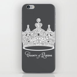 County of Queens | NYC Borough Crown (WHITE) iPhone Skin