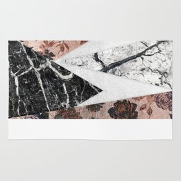 Modern Chic Black White Marble and Rose Gold Geo Rug
