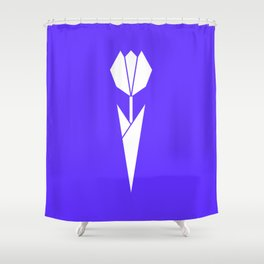 Origami Flower (white + blue) Shower Curtain
