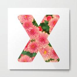 Pink Floral X Metal Print