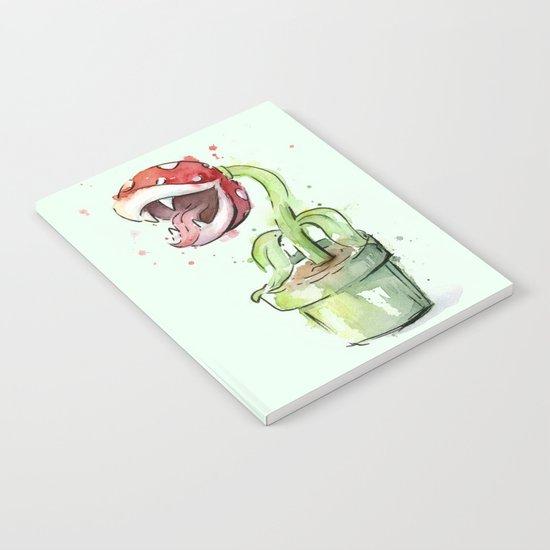 Piranha Plant Watercolor Geek Gaming Mario Art Notebook
