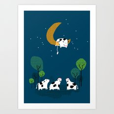 A cow jump over the moon Art Print