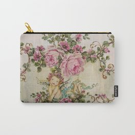 Sweet Cherub and Pink Roses Painting Carry-All Pouch