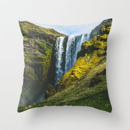 Subtle Skógafoss Throw Pillow