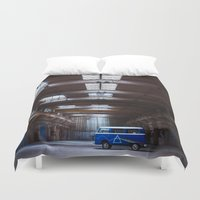vw bus Duvet Covers featuring Dark side of the VW bus by monicamarcov