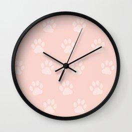 Cute Cat Paw Print Pattern – Baby Pink Wall Clock