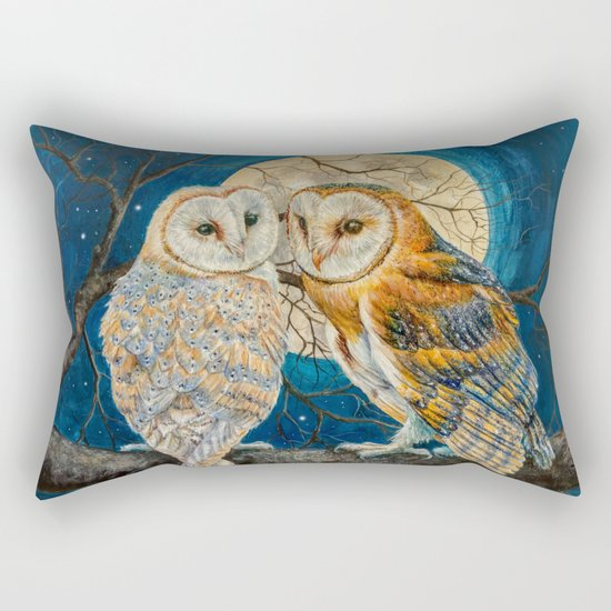 Owls Moon Stars Rectangular Pillow