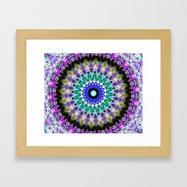Lovely Healing Mandalas in Brilliant Colors of  violet, purple, green, blue, teal, white, yellow Framed Art Print