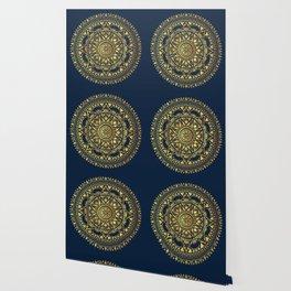 Blue & Gold Boho Pattern Wallpaper