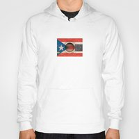 puerto rico Hoodies featuring Old Vintage Acoustic Guitar with Puerto Rican Flag by Jeff Bartels