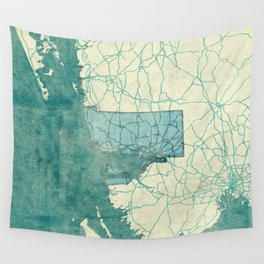 Rhode Island State Map Blue Vintage Wall Tapestry