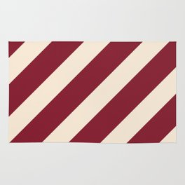 Antique White and Antique Ruby Diagonal Stripes Rug