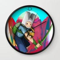 finn and jake Wall Clocks featuring Finn & Jake by Joshua M. Rhodes III