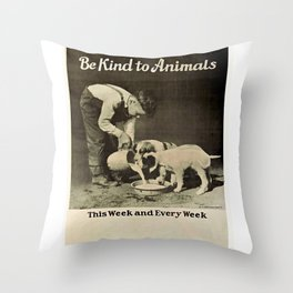Vintage Be Kind To Animals Advert - Black and White Throw Pillow