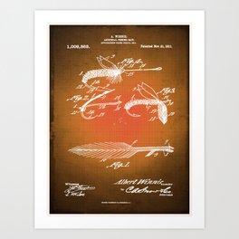 Fly Fishing Bait Patent Blueprint Drawing Sepia Art Print