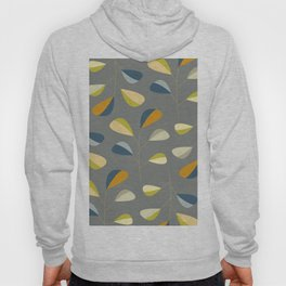 Mid Century Modern Graphic Leaves Pattern 3. dark grey Hoody