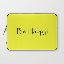 Be Happy - Black and Yellow Design Laptop Sleeve
