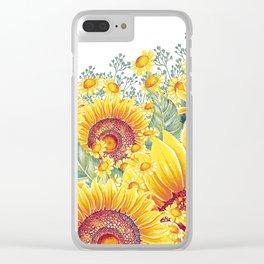 Vintage Garden 15 (Sunflower Field) Clear iPhone Case