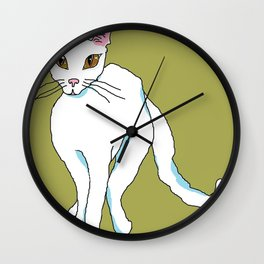 White Kitty Snow Flake with green background Wall Clock