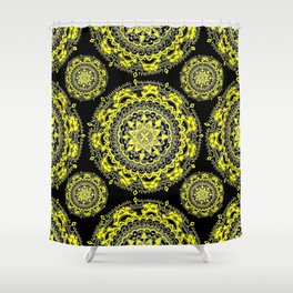 Black and Gold Regal Mandala Textile Shower Curtain