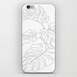 Line Art Monstera Leaves iPhone Skin