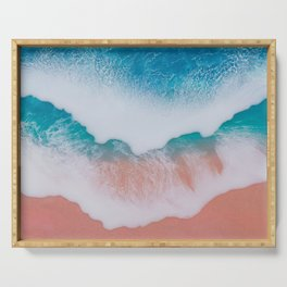 Beautiful ocean waves made by epoxy resin on canvas Serving Tray