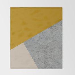 MUSTARD NUDE GRAY GEOMETRIC COLOR BLOCK Throw Blanket