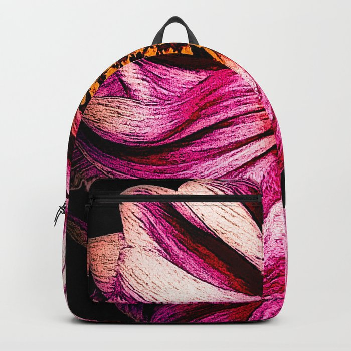 Simple Pink Dahlia On Black Backpack