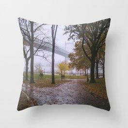 Rainy Autumn in Astoria Park Throw Pillow