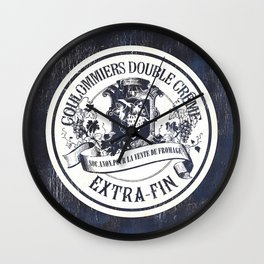 Indigo Vintage French Cheese Label 2 Wall Clock