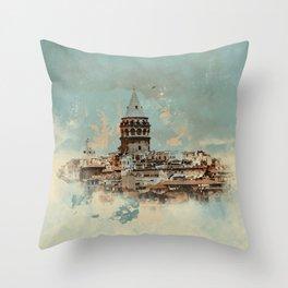Galata Tower Throw Pillow
