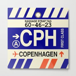 CPH Copenhagen • Airport Code and Vintage Baggage Tag Design Metal Print