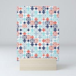 Geometric Lace – Coral & Blue Mini Art Print