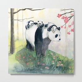 Panda family Metal Print