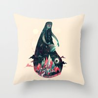 kpop Throw Pillows featuring Night Time. by Karl James Mountford