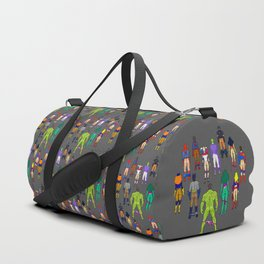 Superhero Butts - Power Couple on Violet Duffle Bag