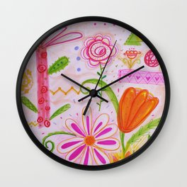 Palm and Florals Illustration by Paisley in Paris™ Wall Clock